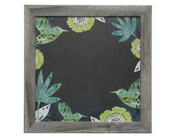 Wall Decor - Magnet Board - Magnetic Board - Whiteboard - Framed Bulletin Board - Hummingbird Design - includes matching magnets