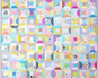 Modern and Colorful Spools Quilt - A Patchwork Quilt