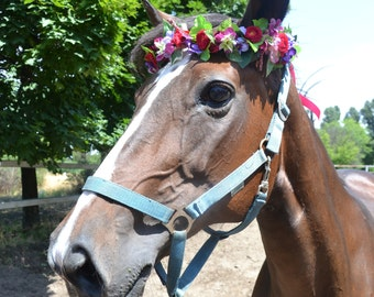 Pet flower crown Photo shoot prop Wedding photo prop Horse flower crown Horse flower halo Summer wedding photo shoot Horserider wedding