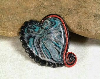 Heart Pendant, Gothic Pendant, Swirled Heart, Black, Silver, Turquoise and Orange, Heart Jewelry