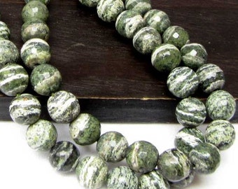 Green Zebra Jasper Faceted 8 mm Jasper Beads 15 Beads Green White Necklace Bracelet Jewelry Supply #110