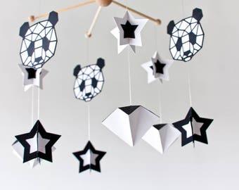 geometric Panda mobile baby, Black white mobile, Monochrome mobile, black white nursery, MODERN MOBILE GEOMETRIC, minimalist nursery mobile