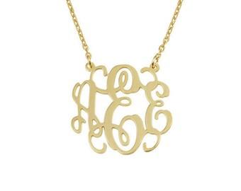 18k gold monogram necklace,14 inch chain,16 inch,18 inch,20 inch,Personalized Monogram necklace