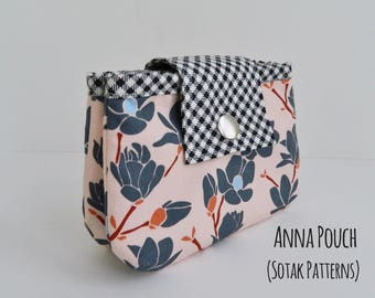 Anna Double Zipper Pouch, diy, pouch pattern, PDF sewing pattern, instant download, sew, two zippers, coin pouch, unique, sotak patterns