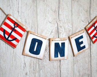 Nautical birthday banner - I am one banner - Nautical 1st party - One year old banner - First birthday party - Anchor birthday