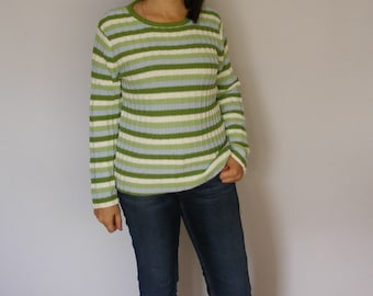 Striped Cotton Sweater Vintage Cotton Sweater Knitted Pullover Womens Sweater