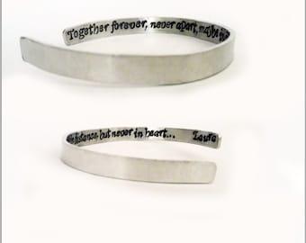 Personalized cuff bracelet, Friendship bracelet, personalized bracelet, silver bracelet, best friend bracelet, best friend gift, aluminum