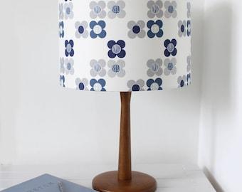 Mod Flower Blue Lampshade Scandi Fabric Drum Lamp Shade