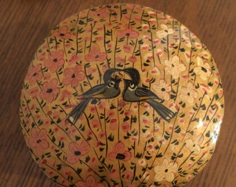 Love Birds Gold Hand Painted Jewelry Box, Floral Design, Metallic Paint.