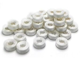 Prewound Bobbin Size L White 10 20 50 144 Polyester Filament Embroidery Machines White Bobbin Thread