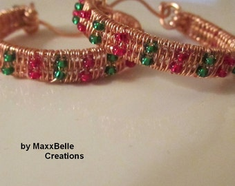 Christmas Copper Wire Weave Earrings with Red and Green Beads