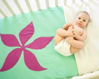 Organic Cotton Baby/Toddler Fleece-Backed Blanket -- Sea Green with Purple Tropical Flower -- Fits Crib/Toddler Bed