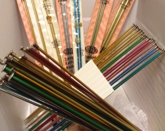 Hero Brand, Scovill, Standard Brand, Romaxe, Made in USA, 14 Inch, Aluminum, Single Point, Knitting Needle, DISCONTINUED, Long sharp Points