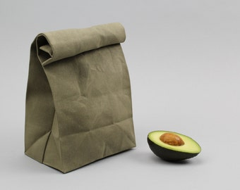 """The """"Brown"""" Bag // Moss Green WAXED Canvas Lunch Bag, an updated, eco-friendly classic"""