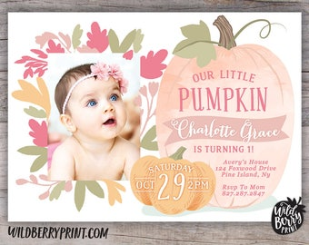 Little Pumpkin Birthday Party Invitation with Free Shipping or Personalized Printable   Custom Photo Invitation   Fall Little Girl Invite