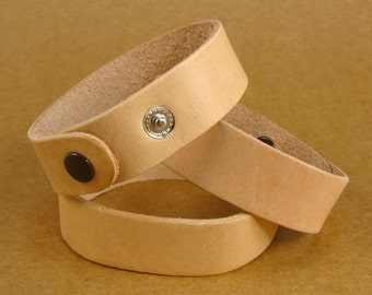 3/4 inch Blank Leather Wristbands Bracelet Cuff /  Set of Three Cuffs /  Bracelets Ready for Decorating