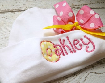 Personalized baby girl name hat, personalized name beanie, newborn hospital hat, baby girls hospital hat with bow, girls name hat with bow