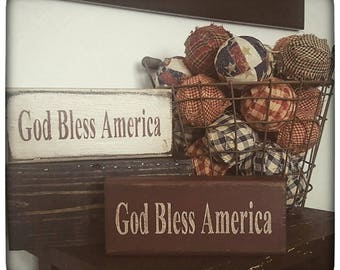 1 pc. Wooden God Bless American Block-Americana Decor-Americana Block Set-Primitive Decor-Primitive Home Decor-USA Americana Decor-Americana