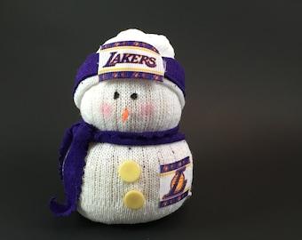 LA Lakers, LA Lakers accessory, Lakers snowman, LA Lakers collectible, Lakers gift, Gift for Lakers fan, Laker fan gift,sock snowman,snowman