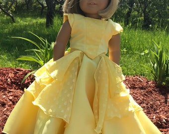 """Belle Ball Gown for 18"""" dolls such as American Girl, My Life, Maplelea, etc"""
