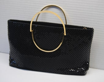 Vintage Black Purse with Gold Handles/Evening Purse/Formal Clutch
