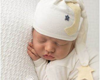 Newborn Knot Hat and Pant Set / Star and Moon Prop Set / Moon Pants/ Night Cap hat and Pant Set