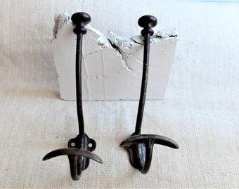 French Cast iron coat Hook - 2 pc antique heavy duty metal- cast iron wall/coat-hat hook