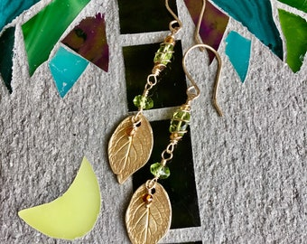 Hand Made Gemstone Earrings, Long Drop Earrings, Long Gemstone Earrings, Peridot Earrings, Gold Earrings