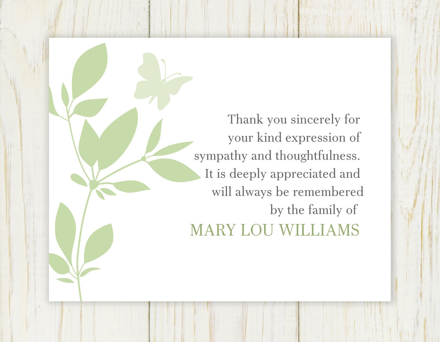 Butterfly funeral thank you card digital file sympathy zoom izmirmasajfo Choice Image