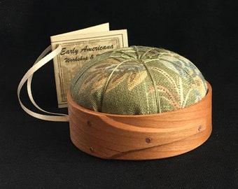 Handcrafted Shaker Tomato Pincushion - Cherry - Sage Green Floral - Handstitched Spiderwork