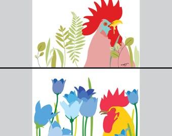 Set of 2 Rooster prints  - Rooster - rooster illustration, rooster print, Nursery art, Colorful art, whimsical art, kids decor, blue bells