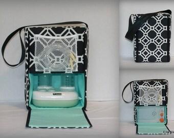 Ready to ship* Half size Ella style Breast Pump Bag in Rossmere Black Tie print