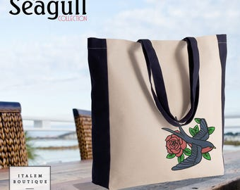 Two-tone cotton canvas embroidery swallow Pink Beach and shopping tote bag - pink Two tone tote bag embroidery Swallow