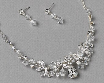 Swarovski Crystal Jewelry Set, Crystal Bridal Jewelry, Floral Wedding Jewelry, Bridal Accessories, Rhinestone Accessories, Bride  ~JS-1623