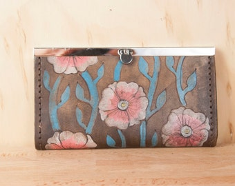 Leather Checkbook Wallet -  Clutch Wallet - Womens Wallet - Aurora Pattern with Flowers and Vines - Pink, Turquoise, Antique Black
