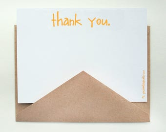 Sunshine Stationery -- A Sunny Thank You -- Set of Flat Notes and Envelopes- CHOOSE your QUANTITY