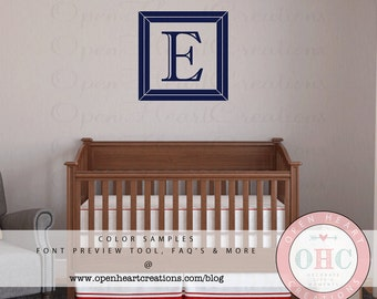 Single Initial Monogram Wall Decal with Picture Frame Border - Personalized Vinyl Wall Decal for Nursery Teen or Family Name 22 x 22 FI0035