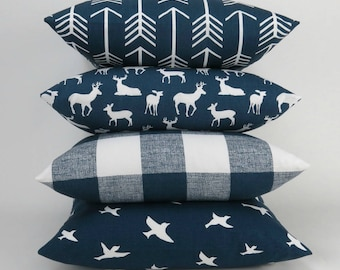 Navy White Pillow Cover, Euro Sham, Cushion Cover, Navy Blue and White Decor, Throw Pillow -MANY SIZES- Mix and Match by Premier Prints