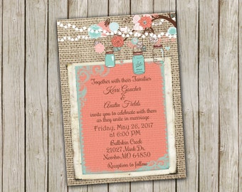 Coral and Turquoise Wedding Invitation, with String of Lights, Tree Branches and Mason Jars