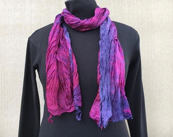 Crinkle Silk Scarf #299 ~ Purple Red-Violet Silk Scarf ~ OOAK Hand Dyed ~ Year Round Scarf ~ Boho Scarf ~ Stocking Stuffer ~ Gift for Her