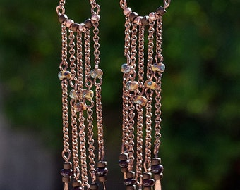 Antique Copper, Picasso Seed Bead,Chandelier Dangle Earrings, Jewelry, Seed Bead, Toho Beads, Chain, Drop Earrings, Handmade