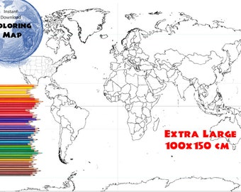Coloring Page World Map Labeled Extra Large 48x32 inch and