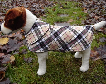 Dog Jacket - Plaid Dog Coat- Size X Small- 12 Inch Back Length