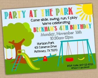 Birthday invitation etsy printable park birthday invitation park birthday party invite party at the park or playground filmwisefo Gallery