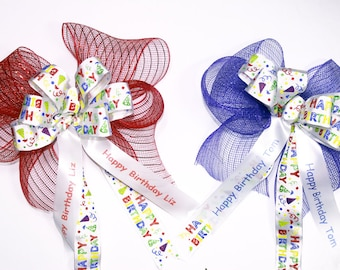 Bows For Birthday Happy Birthday Bows With Name Red Birthday Bow Blue Birthday Bow Happy Birthday Ribbon Birthday Ribbon With Name
