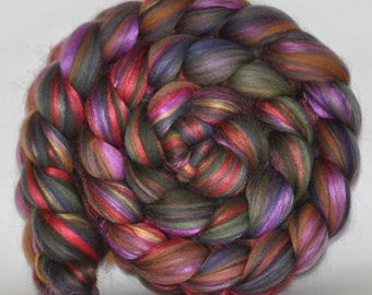 Merino, Mulberry Silk, Bamboo   (62.5/25/12.5)  Roving Commercially  Dyed  5.5 ounces - Tweed Love Combed Top