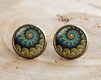 Fractal Earrings,Sacred geometry Earrings, Fractal jewelry, Fibonacci Spiral Earrings,Blue Ratio,