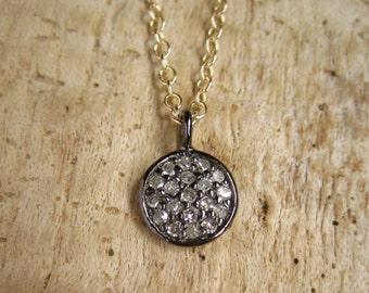 Raw Diamond Necklace Pave Diamond Disc Charm Necklace