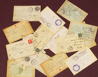 WW1, Dollhouse, 16, Postcards, Miniature postcards, In 1/12 scale, Originals from Soldiers Stationed In Paris Dated 1918/1919, Ephemera,