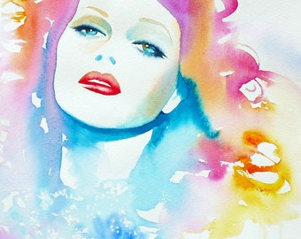 Fashion Illustration Pink Hair Fine Art Print Portrait Retro 1940s Glamour Glam Decor Old Hollywood Diva
